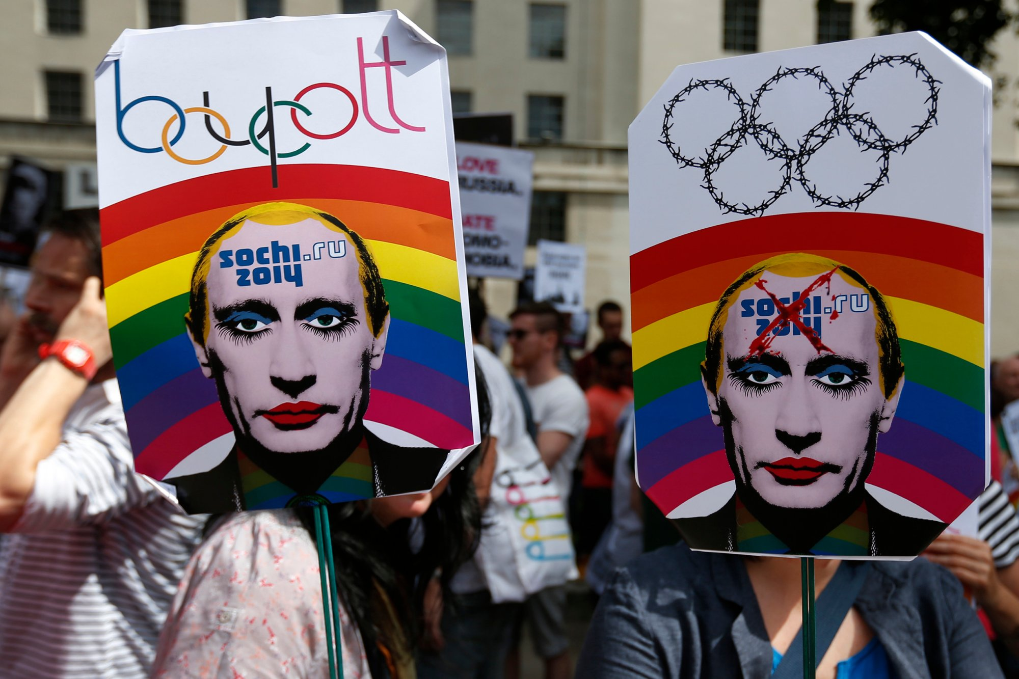 Protesters advocating a boycott of the 2014 Sochi games because of Russia's newly-passed anti-gay legislation. (Photo Credit: http://www.thedailybeast.com)