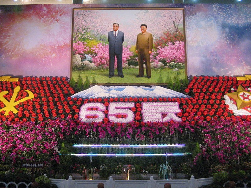 "A memorial to current Supreme Leader Kim Jong-un's grandfather and ""eternal president"" Kim Il-sung and father and ""eternal leader"" Kim Jong-il (Wikimedia Commons)"