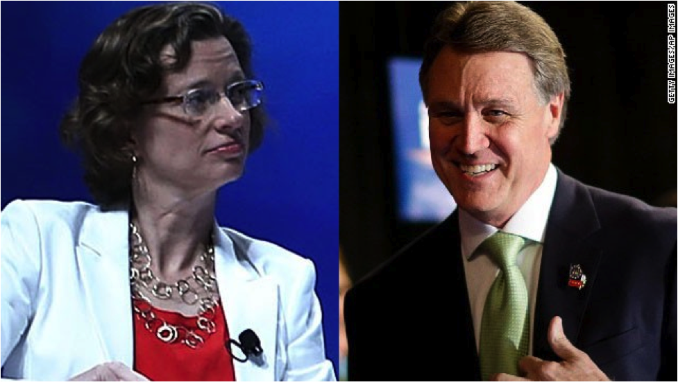 Michelle Nunn (left) and David Perdue (right) will be running against each other in the 2014 Senate midterm elections. (Source: CNN Political Ticker)