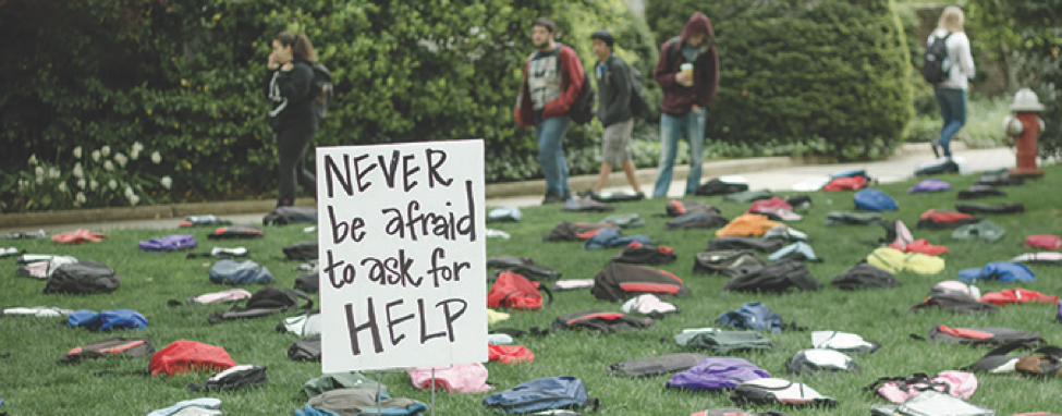 An Active Minds suicide prevention exhibit travels to campuses across the country. This exhibit features 1,100 backpacks representing the number of college students lost to suicide every year.