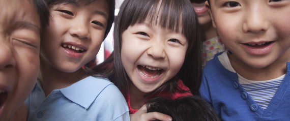 Smiling Chinese students