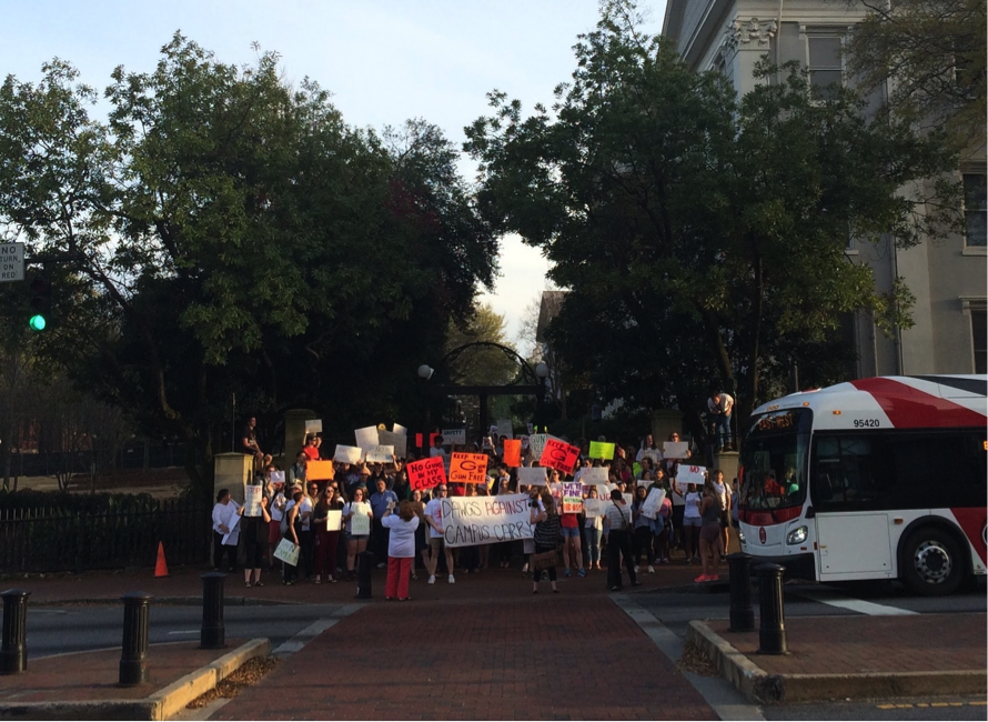 UGA Students hold a rally at the arch against campus carry