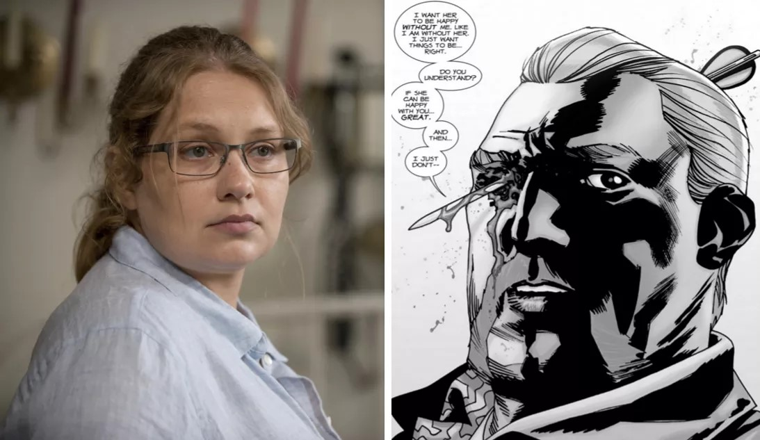 (Merritt Wever as Denise on The Walking Dead; Abraham's death in the original comics. Source: AMC, Image Comics)