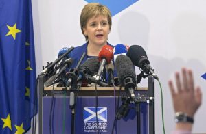 Nicola Sturgeon, first minister of the Scottish Parliament in Edinburgh, has led the effort to keep Scotland, as well as Northern Ireland and Gibraltar, in the EU. (Credit: Time)