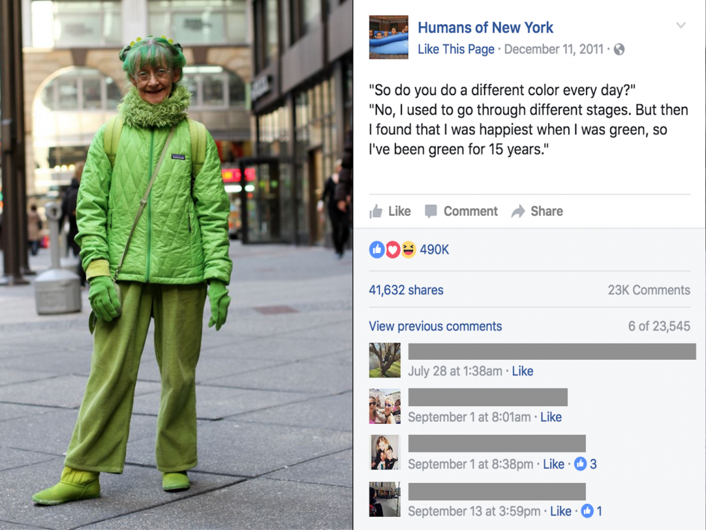 The Green Lady who changed Brandon Stanton's vision. (Credit: HONY)