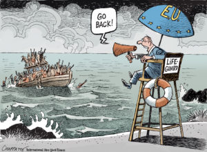 Cartoonist's Depiction of the European Refugee Crisis. Source: New York Times International